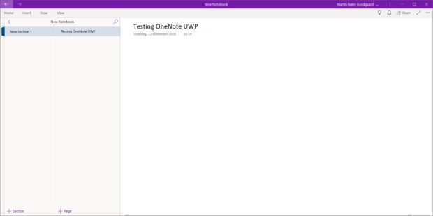 A Look At OneNote (UWP) For Windows 10